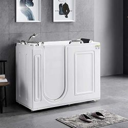 Mecor Walk-in Whirlpool Bathtub, Rectangular Soaking Bathtub with Built-in Seat,Left Intward Op ...