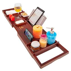 Hightfix Bamboo Bathtub Caddy with Tablet Holder, Cell Phone Tray and Wine Glass Holder –  ...