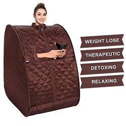 OppsDecor Portable Steam Sauna, 2L Personal Therapeutic Sauna Home Spa for Weight Loss Detox Rel ...