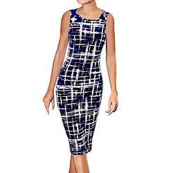 chengzhijianzhu Women's Casual Striped Print Wear to Work Office Career Sheath Dress Sleev ...