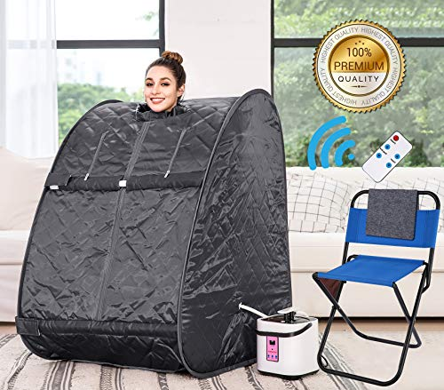Himimi 2L Foldable Steam Sauna Portable Indoor Home Spa Weight Loss Detox with Chair Remote (Gray-▲)
