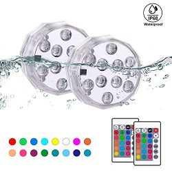 BONBON Submersible LED Lights with Remote, Waterproof Underwater Lights 16 Color Changing Decora ...