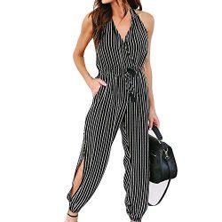 Fudule Women's Jumpsuit Casual Stripe Print Romper Elastic Waist Long Wide Leg Pants Summe ...
