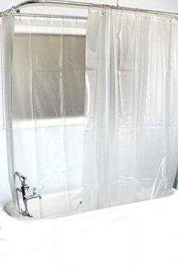D&L Extra Wide Vinyl Shower Curtain for a Clawfoot Tub/Opaque with Magnets 180″ X 70&# ...