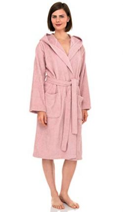 TowelSelections Women's Hooded Robe, Cotton Terry Cloth Bathrobe X-Large Coral Blush