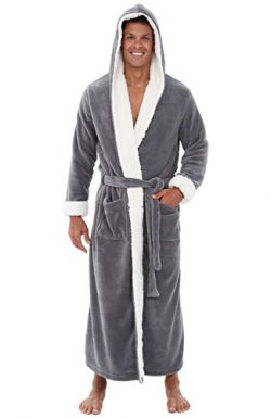 Alexander Del Rossa Men's Warm Fleece Robe with Hood, Plush Big and Tall Bathrobe, Large X ...
