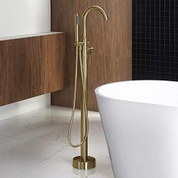 Woodbridge F0007 BG Freestanding Tub Filler Bathtub Floor Mount Brass Bathroom Faucets with Hand ...