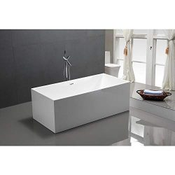 Vanity Art 59-Inch Freestanding Acrylic Bathtub | Modern Stand Alone Soaking Tub with Chrome Fin ...