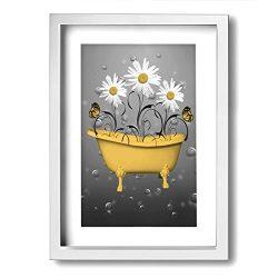 Ale-art 9″x13″ Frame Bathroom Canvas Art Wall Decor Yellow Daisy Flowers Butterflies ...