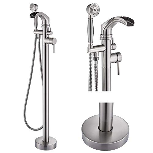 Votamuta Floor Mounted Tub Filler Shower Faucet with Hand Sprayer Tap Stainless Steel