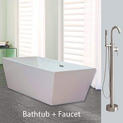 Woodbridge BTA1512/B0003 67″ Acrylic Freestanding Bathtub Contemporary Soaking Tub Overflo ...