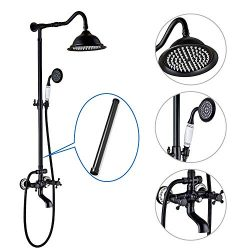 Shower System Oil Rubbed Bronze 8 Inch Rainfall Shower Head 12 Inch Extension Tube Included Doub ...