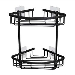 Gricol Bathroom Shower Corner Shelf No Drilling Shower Caddy Black Adhesive Suction 2 Tiers