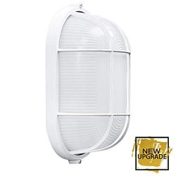 Waterproof Grid Oval Bulkhead Ceiling Light, White Outdoor Wall Light, Safety – 8 Inches,  ...