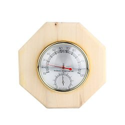 Uwecan 2 in 1 Decorative Wood Thermometer/Hygrometer / Hygrothermograph Sauna Room – Hexag ...