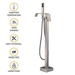 Freestanding Bathtub Faucet Brushed Nickel Floor Mount Tub Filler with Handheld Shower Single Ha ...