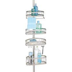 mDesign Bathroom Shower Storage Constant Tension Corner Pole Caddy – Adjustable Height  ...