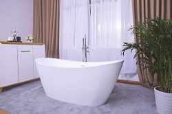 Empava Made in USA 67 Inch Acrylic Freestanding Bathtub Contemporary Soaking Tub with Brushed Ni ...