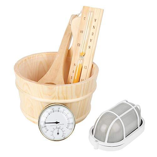 Jeffergarden 5Pcs/Set Sauna Tool Bucket + Scoop + Sand Clock + Thermometer + Explosion Proof Lig ...