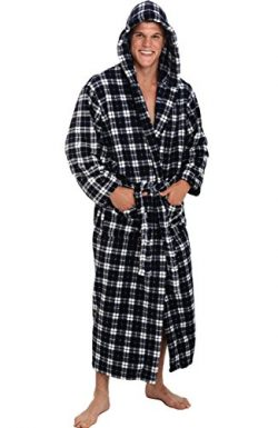 Alexander Del Rossa Men's Warm Fleece Robe with Hood, Big and Tall Bathrobe, Large XL Dark ...