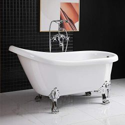 WOODBRIDGE WOODBRIGE, Clawfoot Tub with Chrome Drain and Overflow Parts, 59″ B-0022