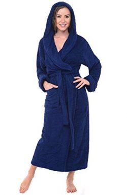 Alexander Del Rossa Womens Turkish Terry Cloth Robe, Long Cotton Hooded Bathrobe, 1XL 2XL Navy B ...