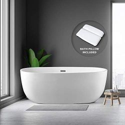 BATH MASTER 59″ Freestanding Bathtub Acrylic Contemporary Bathroom Soaking Tub with Chrome ...
