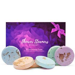 Cleverfy Shower Bombs Aromatherapy [6x] Shower Steamers Christmas Gift Set With Essential Oils F ...