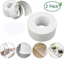 Caulk Strip,2 Pack PE Self Adhesive Sealing Tape Bathtub Waterproof Sealant Caulk Tape Toilet Ba ...