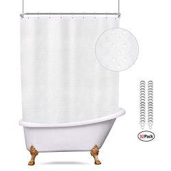 Riyidecor Waffle Clawfoot Tub Shower Curtain Set 180×70 Inch All Wrap Around Shower Curtain ...