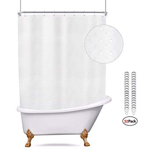 Riyidecor Waffle Clawfoot Tub Shower Curtain Set 180×70 Inch All Wrap Around Shower Curtain ...