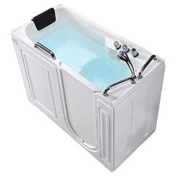 Mecor Walk-in Whirlpool Bathtub, Rectangular Soaking Bathtub with Built-in Seat,Right Intward O ...