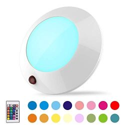 BIGLIGHT Battery Operated LED Ceiling Light Indoor Outdoor, Color Changing Lights, Remote Contro ...