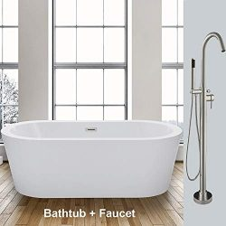 WOODBRIDGE F-0001 59″ Acrylic Freestanding Bathtub Soaking Tub Brushed Nickel Faucet, B-00 ...