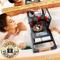 Your Majesty Premium Black Bamboo Bathtub Caddy Tray [with Mirror] 1-2 Adults Expandable Bath Tr ...