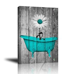 Giclee Canvas Wall Art for Home Decoration, Abstract Canvas Wall Decor with Teal White Rustic Fl ...