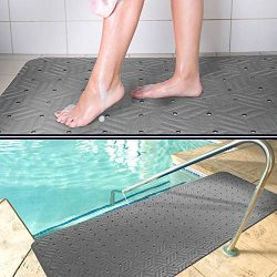 Wet Step Indoor/Outdoor Mat (2′ x 3'Grey)- Non-Slip Antimicrobial Drainable Soft and ...