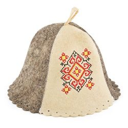 Eden Ukraine Wool Sauna Hat Embroidered Ukrainian ornament Red