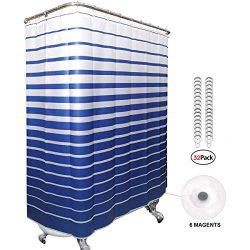 Riyidecor Clawfoot Tub Shower Curtain Set with Magnets 180×70 Inch Dark Blue Striped All Wr ...