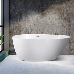 FerdY 55″ Small Freestanding Soaking Bathtub, Glossy White, cUPC Certified, Toe-Tap Drain  ...