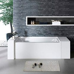 Woodbridge BTA1519-R 60″ Acrylic Freestanding Bathtub Contemporary Soaking Tub with Chrome ...