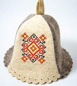 Rushnichok SAUNA HAT Red Black Ukrainian Embroidery Vyshyvanka Banya EASTER SALE