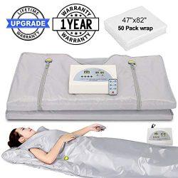 VANELL Sauna Blanket Upgraded Version Far-Infrared Digital Heat Sauna Heating Blanket, 2 Zone Co ...