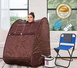 Himimi 2L Foldable Steam Sauna Portable Indoor Home Spa Weight Loss Detox with Chair Remote (Cof ...