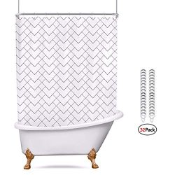 Riyidecor Clawfoot Tub Shower Curtain White 180×70 Inch All Wrap Around Polyester Fabric Pa ...