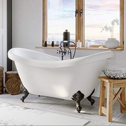 Freestanding 68″ Bathtub Acrylic Double Ended Slipper Bathtub with 7″ Faucet Hole Dr ...