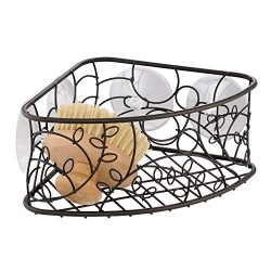 iDesign Twigz Metal Bathroom Suction Holder, Shower Organizer Corner Basket for Sponges, Scrubbe ...