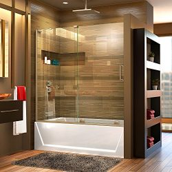 DreamLine Mirage-X 56-60 in. Width, Frameless Sliding Tub Door, 3/8″ Glass, Brushed Nickel ...
