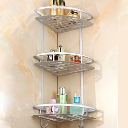 Sunmics No Drilling Bathroom Corner Shelves, Aluminum 3 Tier Shower Shelf Caddy Adhesive Storage ...