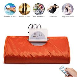 Uttiny Far Infrared Sauna Blanket, 70.8×31.4 Inches 110V 2 Zone Waterproof Detoxification B ...